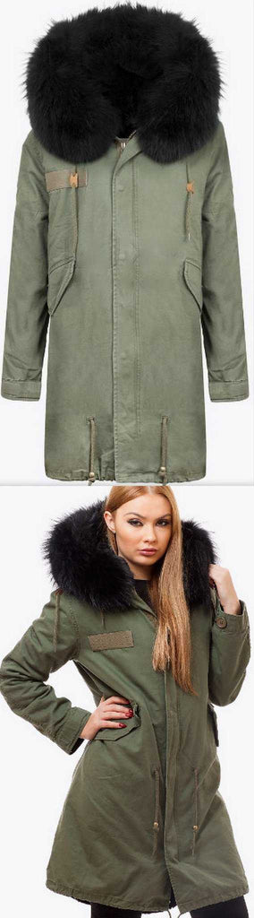 Army-Green Fur Parka Coat-Black Fur - DESIGNER INSPIRED FASHIONS