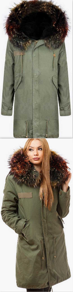 Army-Green Fur Parka Coat-Multi-Colored Fur - DESIGNER INSPIRED FASHIONS