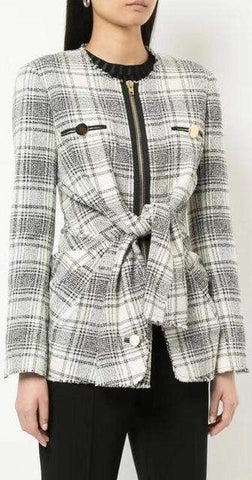Asymmetrical Frayed Tweed Jacket