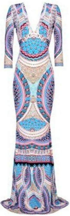 Long Printed V-Neck Jersey Silk Gown - DESIGNER INSPIRED FASHIONS