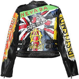 Studded Printed Short Faux-Leather Motorcycle Jacket - DESIGNER INSPIRED FASHIONS