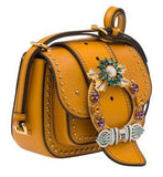 'Dahlia' Small Studded Leather Saddle Bag, Earth Yellow - DESIGNER INSPIRED FASHIONS