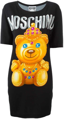 Crowned Bear Oversized T-Shirt/Dress, Black