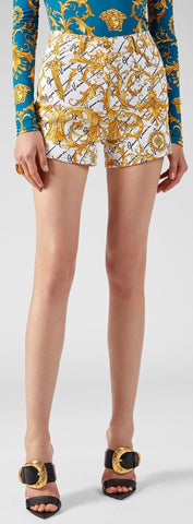 'Barocco' Signature Print Denim Shorts