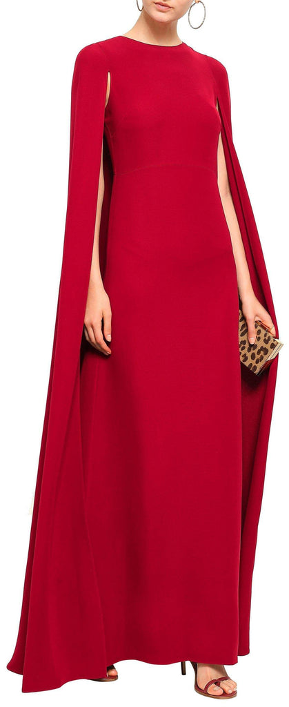 Cape-Back Silk Gown, Red
