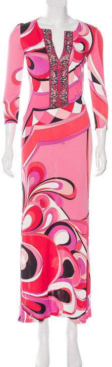 Abstract Print Embellished Jersey Silk Dress