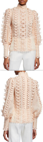 'Super 8' Lace Flutter Blouse, Pink | DESIGNER INSPIRED FASHIONS