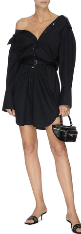 Belted Off-Shoulder Shirt Dress, Black