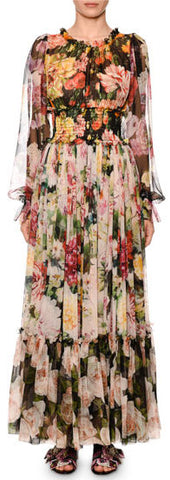 Blouson-Sleeve Floral-Print Chiffon Gown | DESIGNER INSPIRED FASHIONS