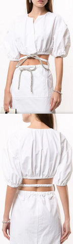 Ruched Crystal Tie Top