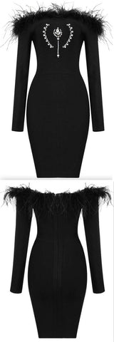 Black Off-the-Shoulder Jewel and Feather Embellished Mini Dress