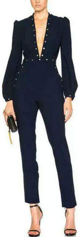 'Esplanade' Rivet Jumpsuit in Dark Blue - DESIGNER INSPIRED FASHIONS