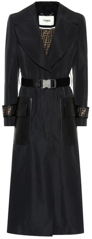 Leather-Trimmed Faille Trench Coat | DESIGNER INSPIRED FASHIONS