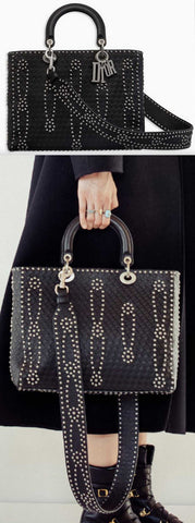Large Lady Dior Bag in Black Studded Calfskin Leather