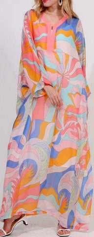 Abstract Print Silk-Blend Kaftan Beach Gown | DESIGNER INSPIRED FASHIONS
