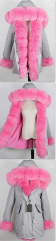 Army Parka Military Parka Coat with Fox Fur-Grey/Pink - DESIGNER INSPIRED FASHIONS