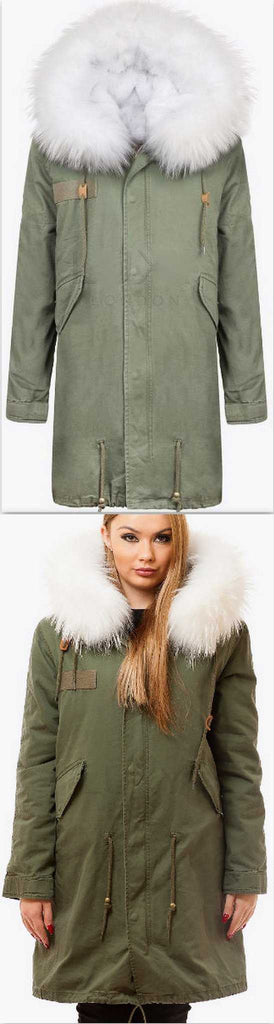 Army-Green Fur Parka Coat-White Fur - DESIGNER INSPIRED FASHIONS