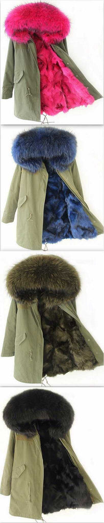 Army-Green Fox Fur-Lined Parka Jacket-(Various Colors to Choose From) - DESIGNER INSPIRED FASHIONS