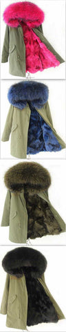 Army-Green Fox Fur-Lined Parka Jacket-(Various Colors to Choose From) | DESIGNER INSPIRED FASHIONS