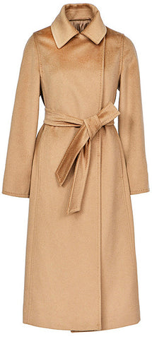 Belted Wool Wrap Coat, Camel