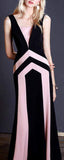 Geometric Sleeveless Midi V-Neck Dress in Black & Pink