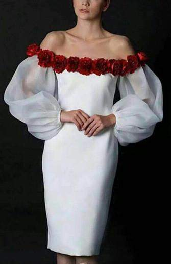 Floral-Applique Off-Shoulder Dress - White