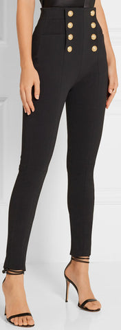 Black Button-Embellished Skinny Pants - DESIGNER INSPIRED FASHIONS