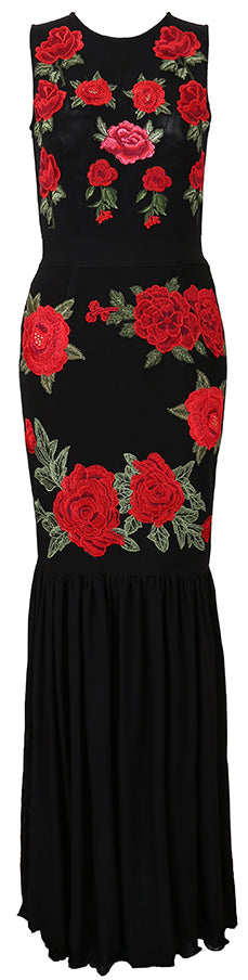 Black Long Floral-Embroidered Stretchy Maxi Dress