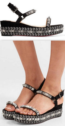 'Pyraclou' 60 Spiked Suede Wedge Sandals