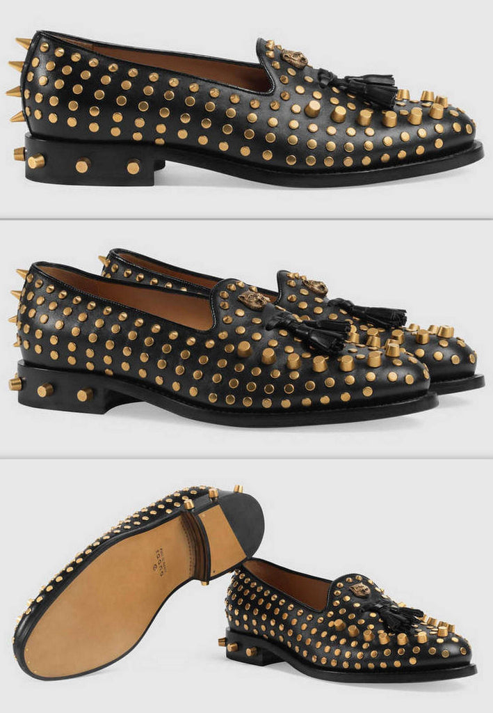 Black Leather Loafers with Studs