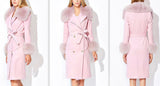 'Adnes' Pink Fox-Fur-Trim Cashmere-Wool Double-Breasted Coat - DESIGNER INSPIRED FASHIONS