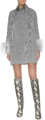 Strass Tassel Collar Feather Cuff Gingham Check Mini Dress | DESIGNER INSPIRED FASHIONS
