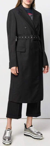 Belted Double-Breasted Coat, Black
