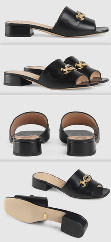 Zumi Leather Slide Sandals, Black