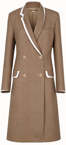 Tie-Back Wool Trench Coat