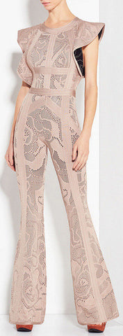 'Kasie' Rose Multi-Texture Plaited Jacquard Jumpsuit - DESIGNER INSPIRED FASHIONS