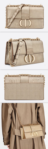 30 Montaigne Chain Bag, Metallic Gold Microcannage Calfskin