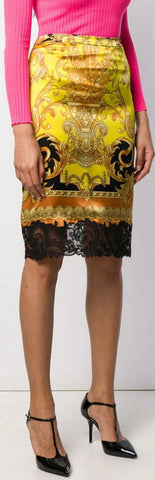 Baroque Print Lace-Trim Skirt | DESIGNER INSPIRED FASHIONS