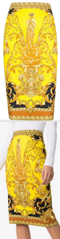 Baroque Printed Satin Pencil Skirt | DESIGNER INSPIRED FASHIONS