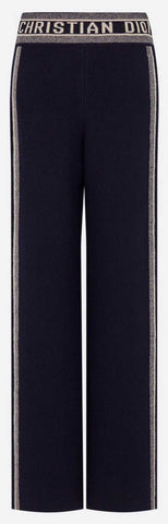 Navy Blue Fantaisie Jacquard Travel Knit Pant | DESIGNER INSPIRED FASHIONS