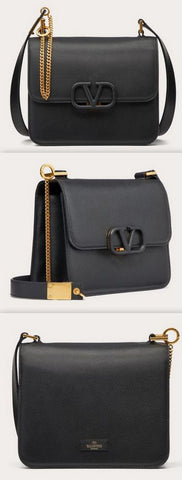 'VSLING' Grainy Calfskin Shoulder Bag, Black | DESIGNER INSPIRED FASHIONS