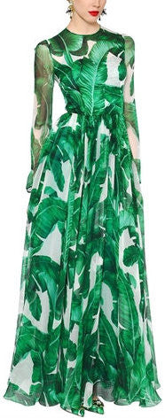 'Banana Leaf' Long Gown - DESIGNER INSPIRED FASHIONS