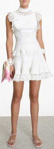 'Peggy' Embroidered Short Dress
