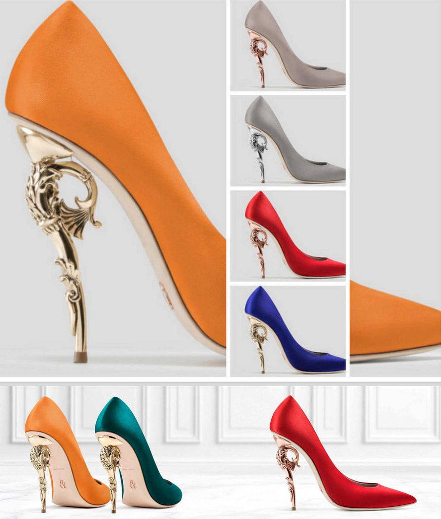 Baroque Satin Pumps - (Various Colors to Choose From) - DESIGNER INSPIRED FASHIONS