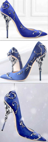 'Eden' Pumps with Metal Leaves, Blue - DESIGNER INSPIRED FASHIONS