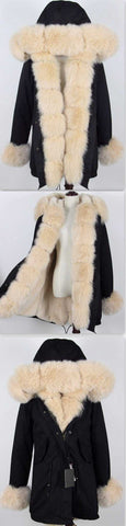 Army Parka Military Parka Coat with Fox Fur-Black/Cream - DESIGNER INSPIRED FASHIONS