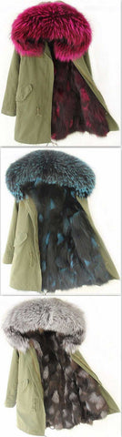 Army-Green Fox Fur-Lined Color-Blend Parka Jacket-(Various Colors to Choose From) | DESIGNER INSPIRED FASHIONS