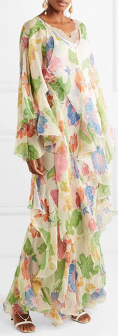 Ruffled Floral-Print Georgette Gown
