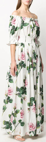 Tropical Rose Print Dress | DESIGNER INSPIRED FASHIONS