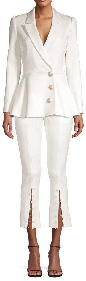 Button-Embellished Peplum Blazer and Pant Suit